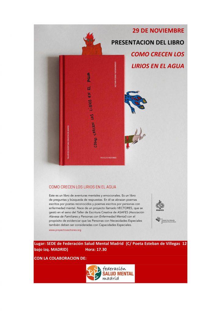 """El 29 de noviembre acogeremos la presentación del libro """"COMO CRECEN LOS LIRIOS EN EL AGUA"""""""