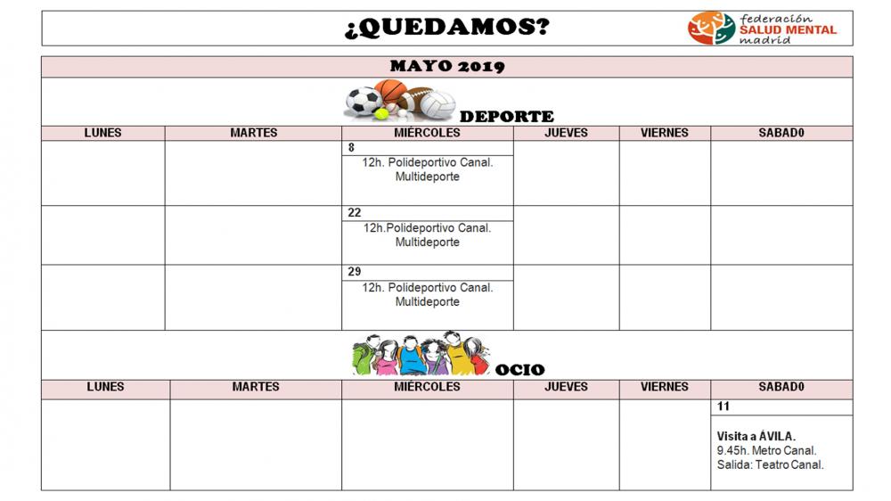Calendario Mayo2019.Calendario Mes De Mayo 2019 De Quedamos Salud Mental Madrid