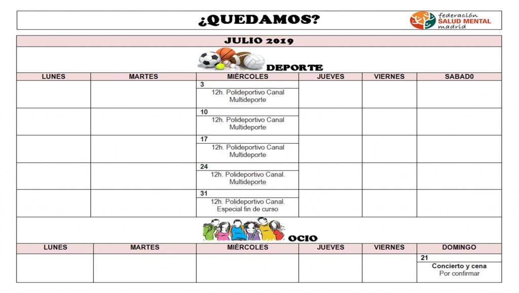 Calendario Julio 2019 QUEDAMOS