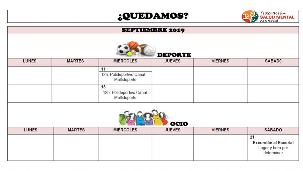 Calendario Septiembre 2019 QUEDAMOS