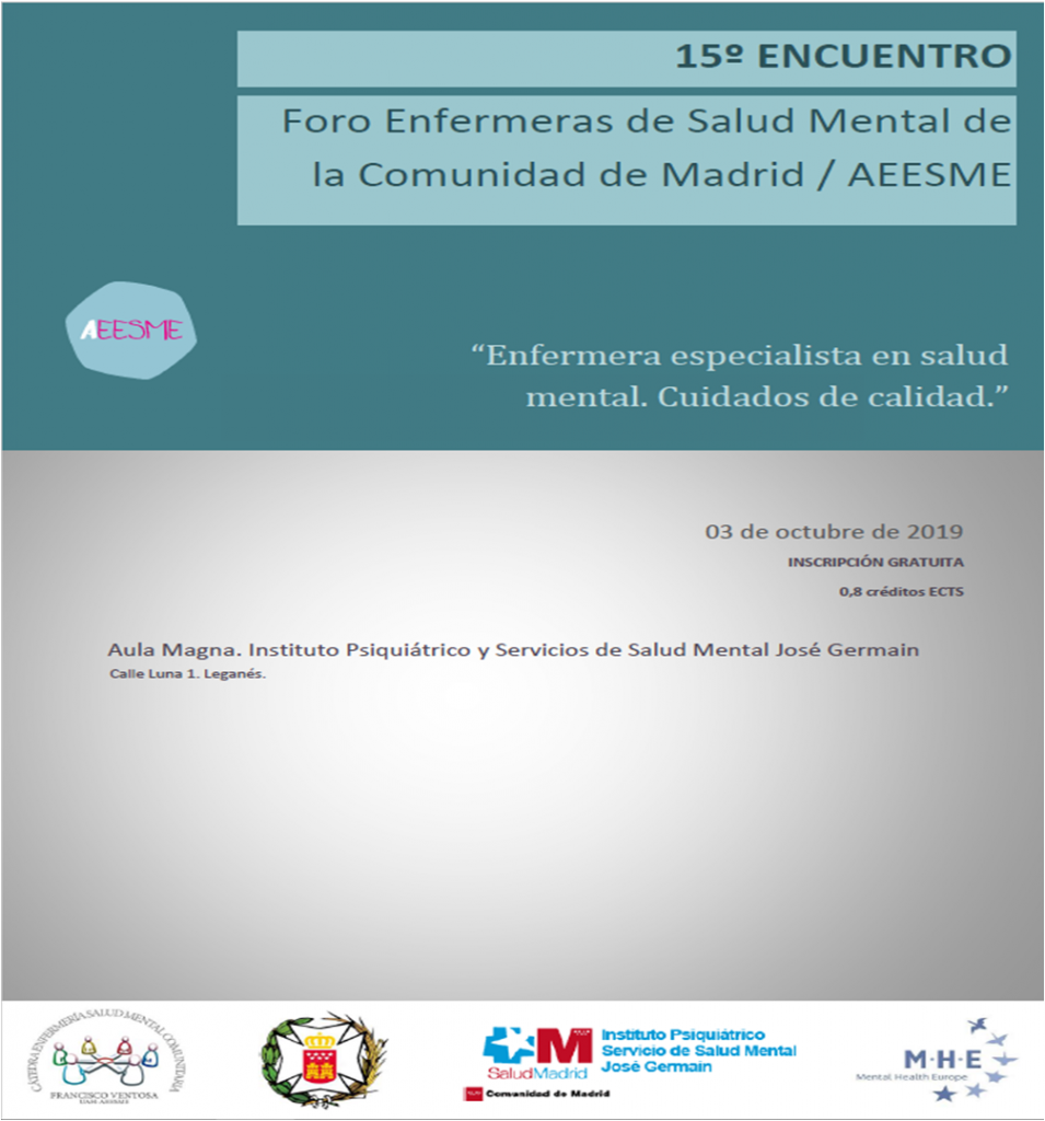 Cartel 15º Encuentro de enfermería de salud mental de la Comunidad de Madrid
