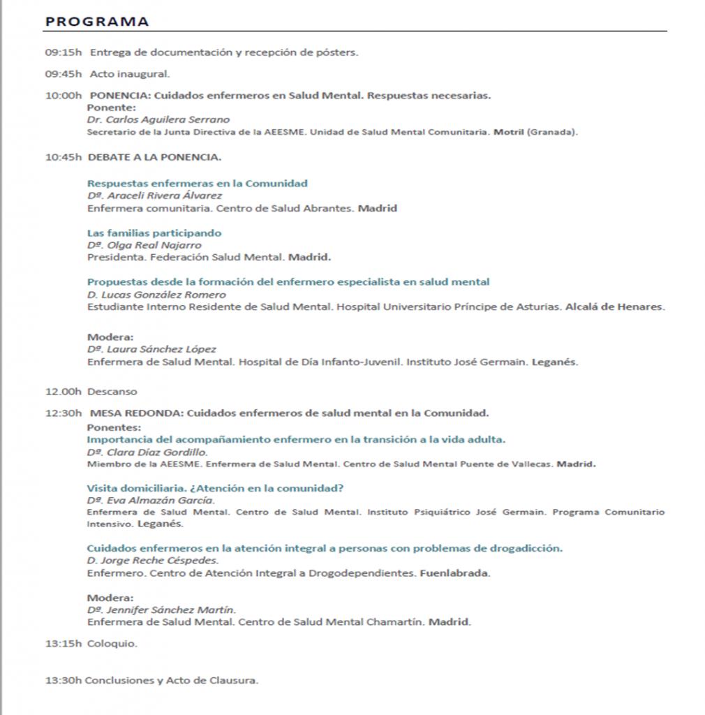 Programa 15º Encuentro de enfermería de salud mental de la Comunidad de Madrid