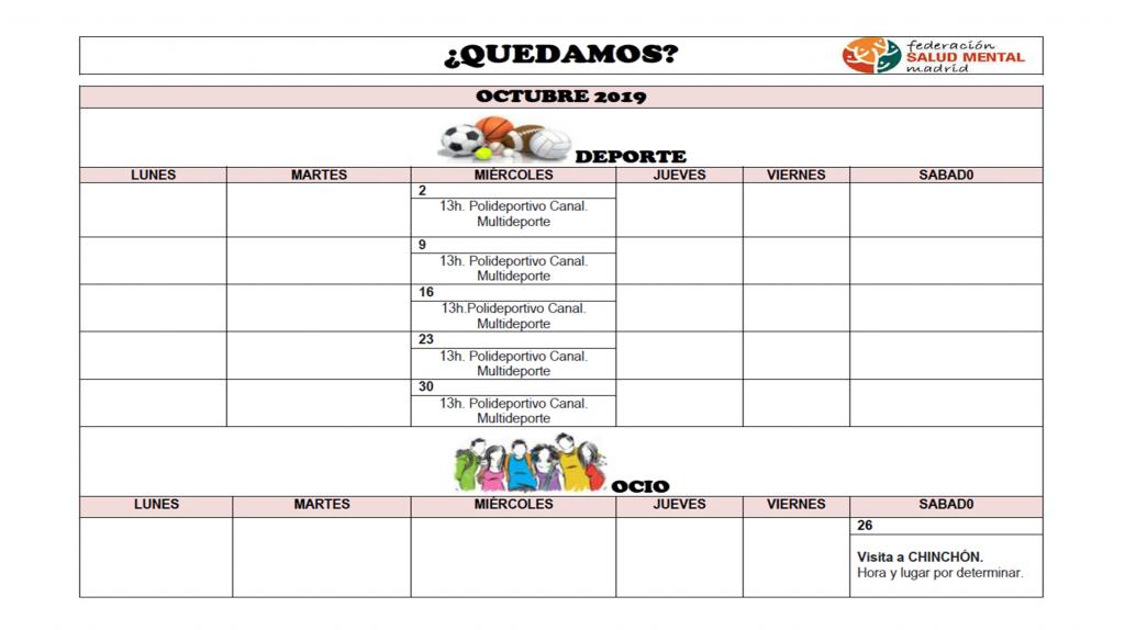 Calendario Octubre 2019 QUEDAMOS